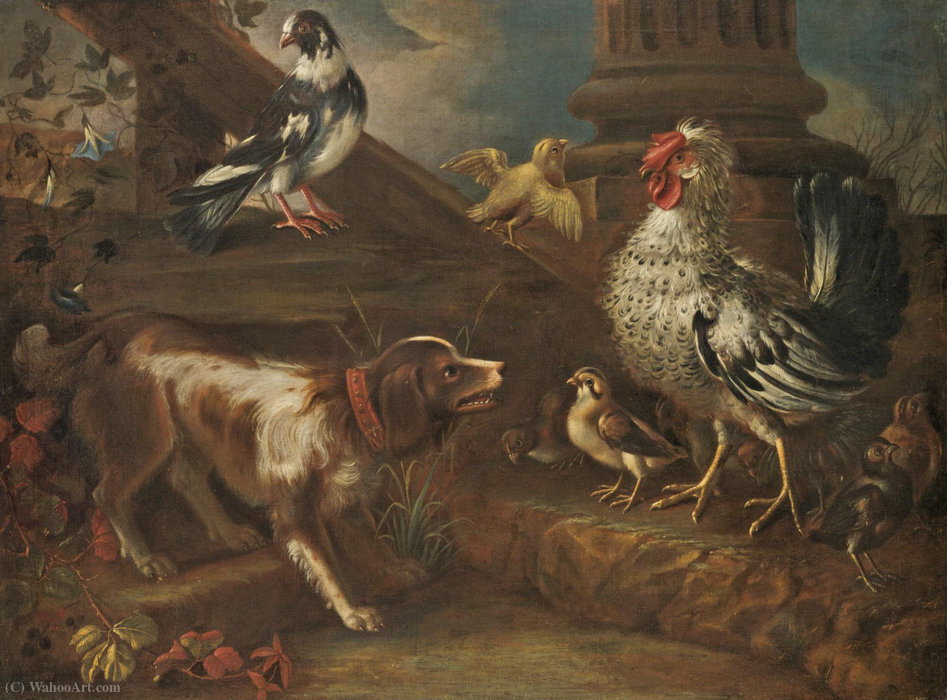 A farmyard still life with a spaniel, a cockerel, chicks, and a pigeon by Niccolò Cassana (1659-1713, Italy)