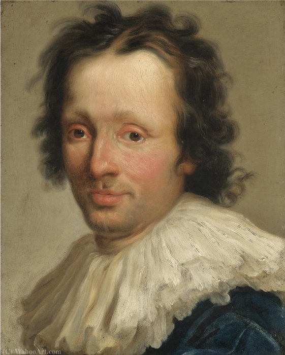 Portrait of an artist, head and shoulders, in a white ruff by Niccolò Cassana (1659-1713, Italy) | Museum Art Reproductions | ArtsDot.com