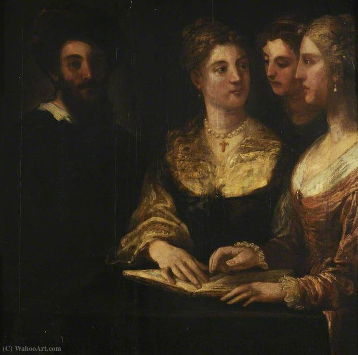 A Concert Three Ladies Singing, a Gentleman on the Left by Niccolò Dell' Abbate (1512-1571, Italy)