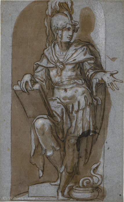 A standing soldier in a niche, possibly attalus i of pergamon by Paolo Farinati (1524-1606, Italy)