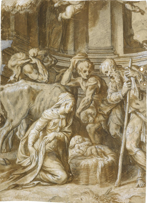 The adoration of the shepherds by Paolo Farinati (1524-1606, Italy)