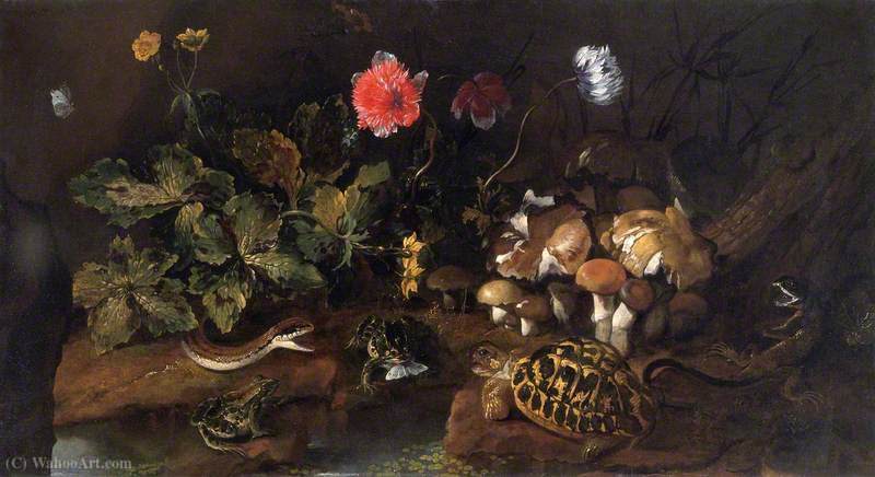 Still Life with a Snake, Frogs and a Tortoise by Paolo Porpora (1617-1673, Italy)