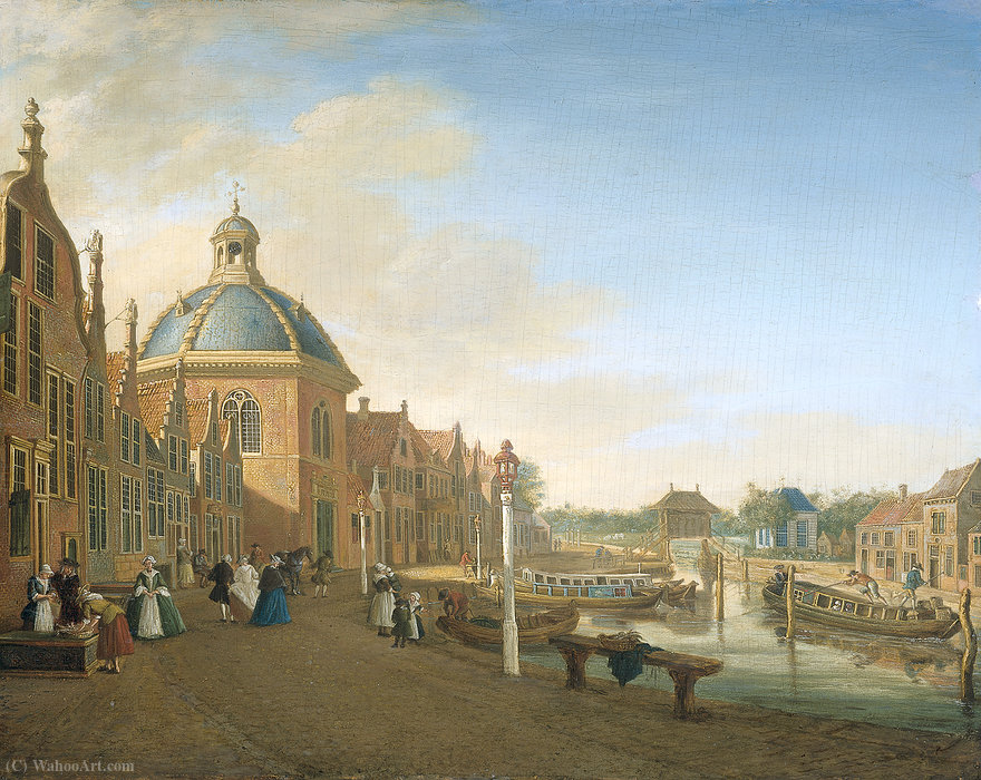 The barge-canal between The Hague and Leiden at Leidschendam. by Paulus Constantin La Fargue (1729-1782, Netherlands)