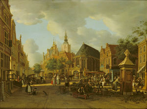 Paulus Constantin La Farg.. - The Groenmarkt as seen to..