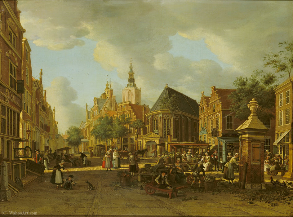 The Groenmarkt as seen towards the Westeinde by Paulus Constantin La Fargue (1729-1782, Netherlands)