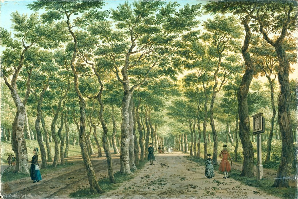 The Herepad in the Haagse Bos. by Paulus Constantin La Fargue (1729-1782, Netherlands)