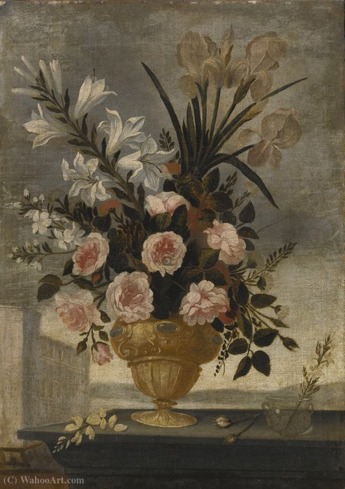 Still Life of Iris, Lilies, Roses and Carnations In Elaborate Urn by Pedro De Camprobín (1605-1674, Spain)