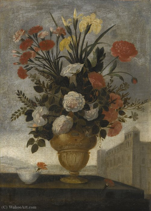 Still life of iris by Pedro De Camprobín (1605-1674, Spain)