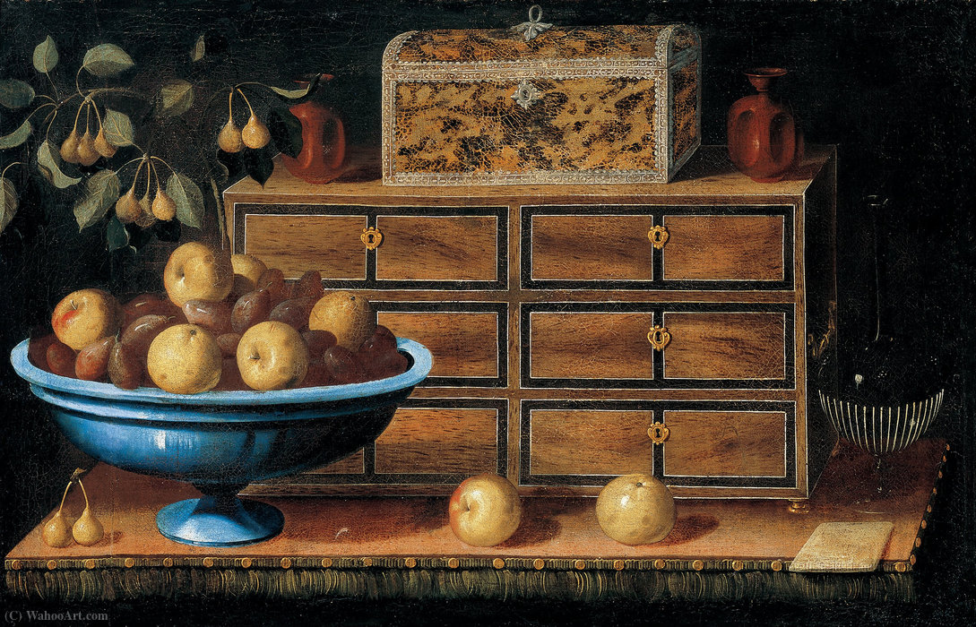 Writing Desk with a small Chest and a Fruit Bowl by Pedro De Camprobín (1605-1674, Spain)