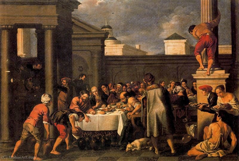 Marriage at Cana by Pedro Orrente (1580-1645, Spain)