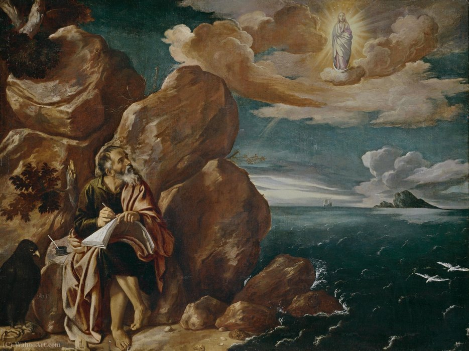 St. John the Evangelist on Patmos by Pedro Orrente (1580-1645, Spain)