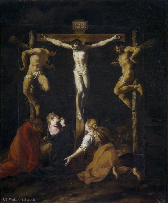 The crucifixion by Pedro Orrente (1580-1645, Spain)