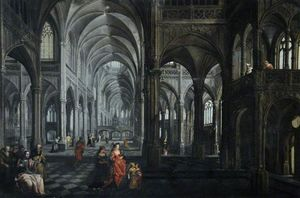 Peeter The Elder Neeffs - Interior of a Cathedral with C..