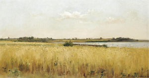 Pierre-Emmanuel Damoye - River landscape with corn..