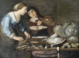 Pieter Cornelisz Van Rijck - Kitchen interior with a pair of servants in the processing of fish, on the worktable cabbages and a duck