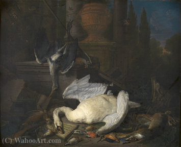 Still life with swan by Pieter Gijsels (1621-1690, Belgium) | Museum Quality Reproductions | ArtsDot.com