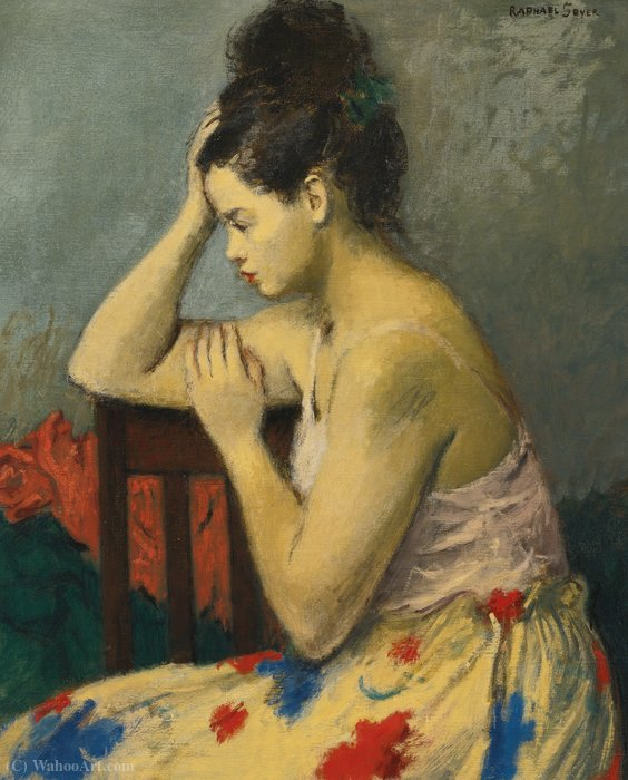 The flowered skirt by Raphael Soyer (1899-1987, Russia)