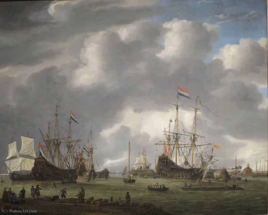A View of the Amsterdam Harbor by Reiner Nooms (1623-1667, Netherlands) | Painting Copy | ArtsDot.com