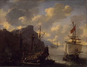 Reiner Nooms - An Amsterdam ship in a bay on the Mediterranean Sea