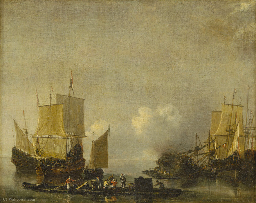Buy Museum Art Reproductions : Ships being repaired by Reiner Nooms (1623-1667, Netherlands) | ArtsDot.com