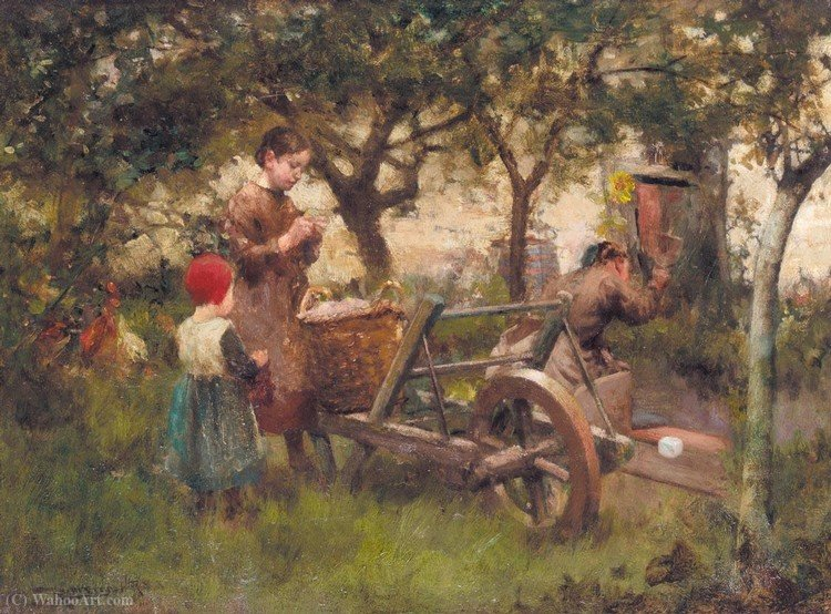 Order Museum Quality Reproductions : In the orchard by Robert Mcgregor (1847-1922, United Kingdom) | ArtsDot.com