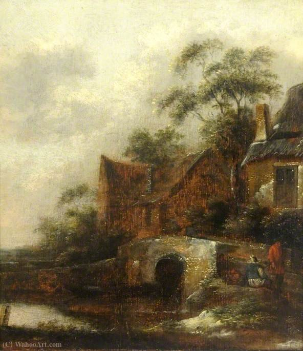 A River Scene with Figures by Salomon Rombouts (1655-1710, Netherlands)