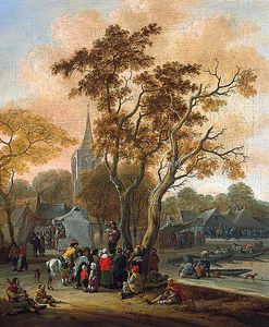 Salomon Rombouts - A Village Fair with a Mummer i..