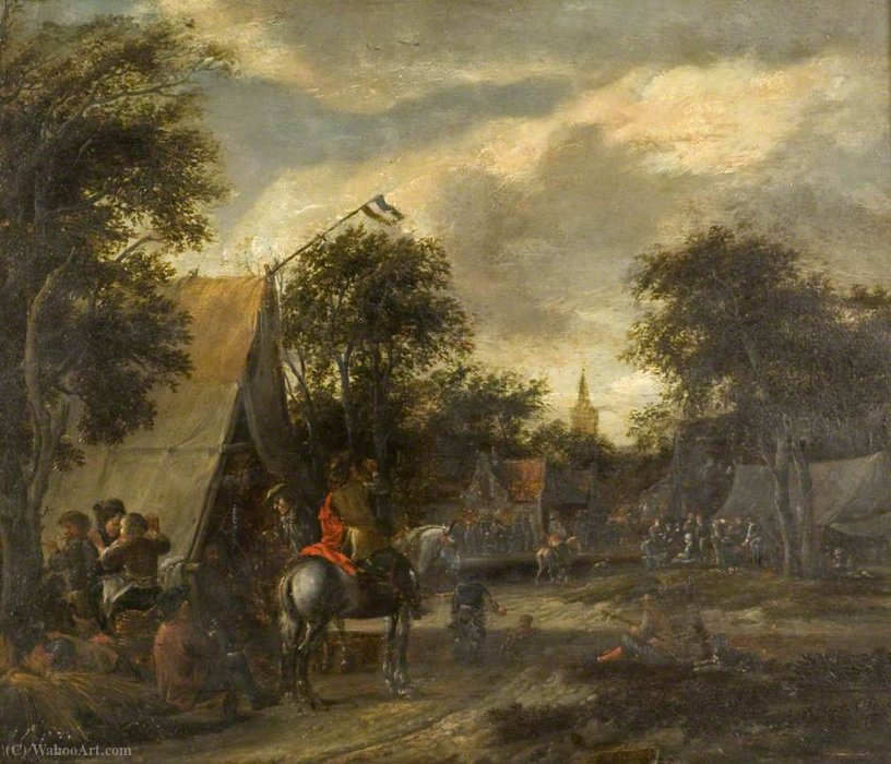 A village kermesse by Salomon Rombouts (1655-1710, Netherlands)