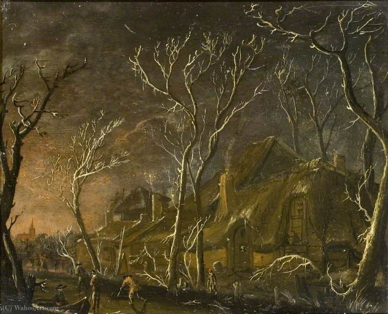 A Winter Scene at Night by Salomon Rombouts (1655-1710, Netherlands)