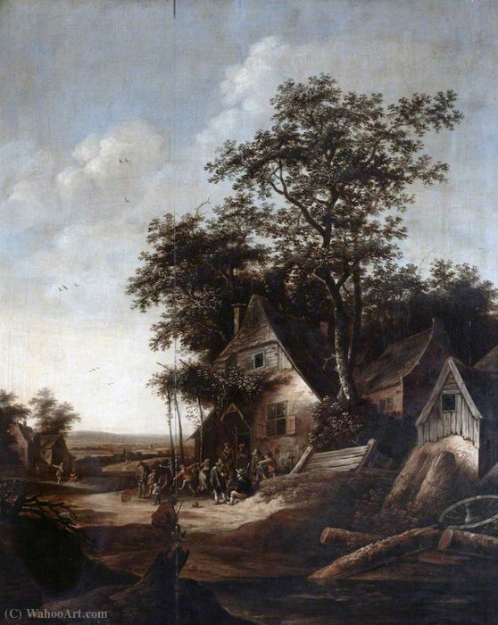 Landscape with Peasants Dancing by Salomon Rombouts (1655-1710, Netherlands)