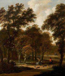 Salomon Rombouts - Wooded Landscape with a Stag H..