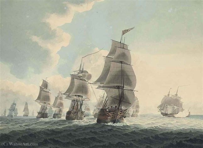 A squadron of the Royal Navy running down the channel by Samuel Atkins