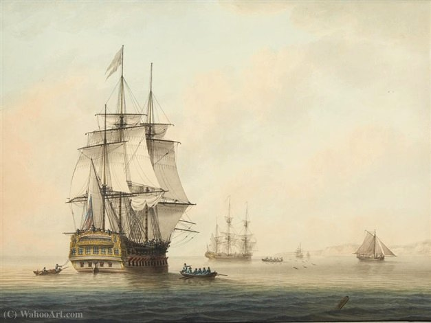 Shipping at anchor off the coast awaiting the tide by Samuel Atkins | Museum Art Reproductions | ArtsDot.com