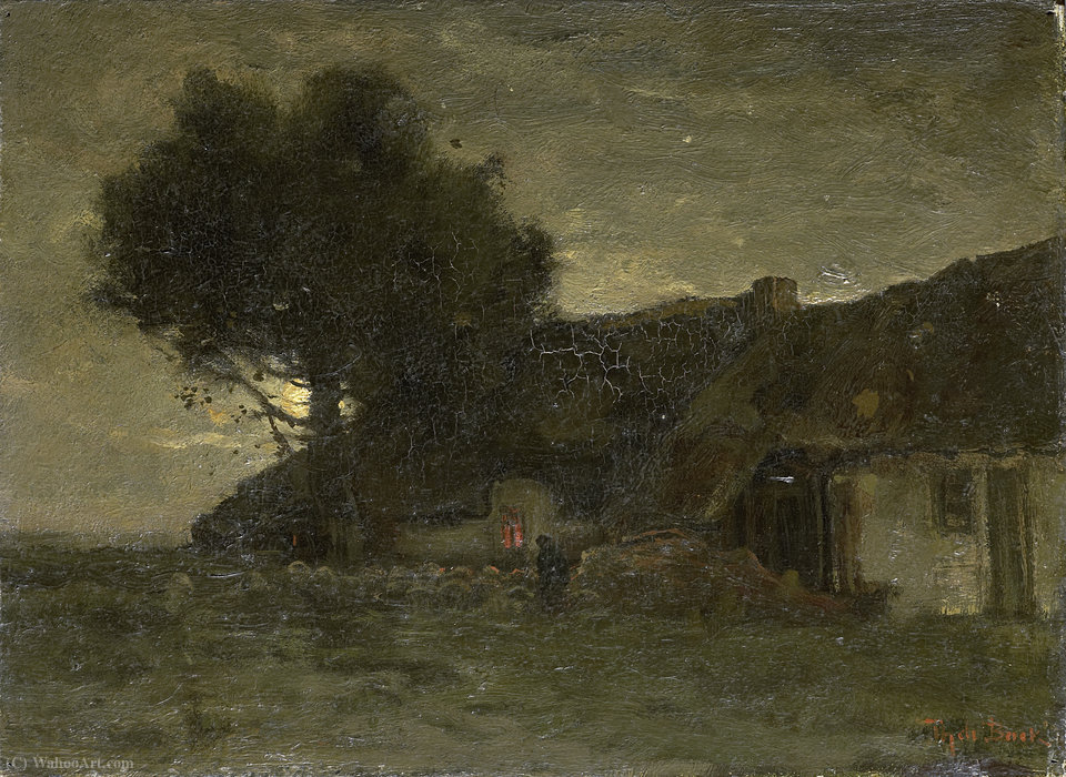 A sheepfold in the evening light by Theophile Emile Achille De Bock (1851-1904, Netherlands) | Oil Painting | ArtsDot.com