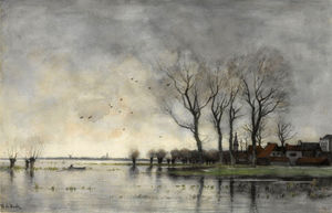 Theophile Emile Achille D.. - A town on the river Vecht