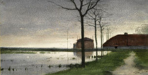 Theophile Emile Achille D.. - A view along the river Ve..