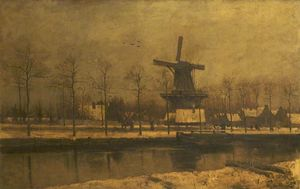 Theophile Emile Achille De Bock - Canal Scene at Haarlem