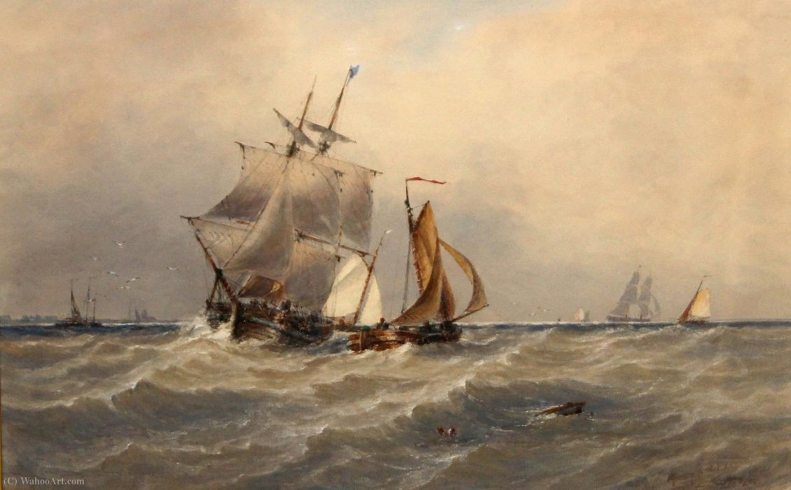 A rough Sea by Thomas Bush Hardy (1842-1897, United Kingdom)