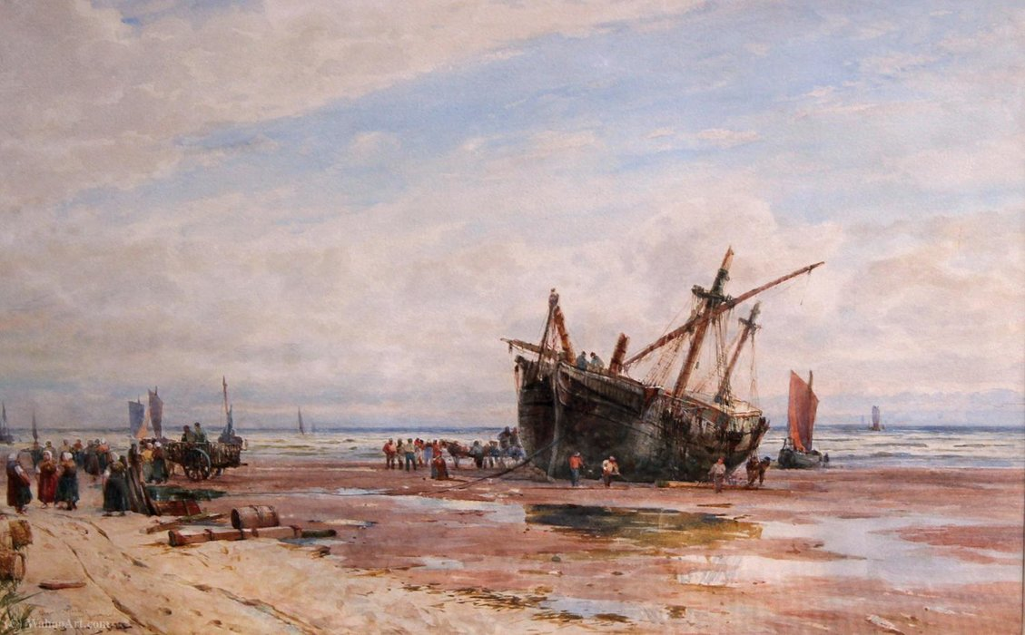 Clearing a Wreck, near Boulogne by Thomas Bush Hardy (1842-1897, United Kingdom)