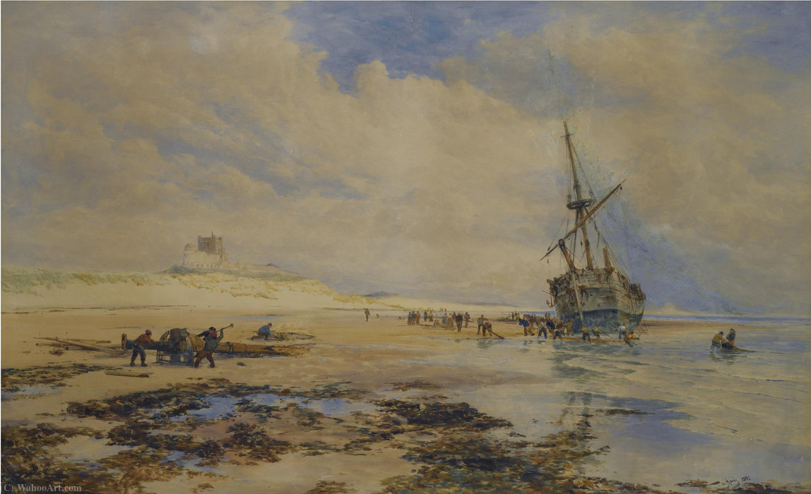 Sailors salvaging a wreck below banborough castle by Thomas Bush Hardy (1842-1897, United Kingdom)