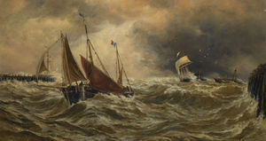 Thomas Bush Hardy - Shipping in a storm off calais..