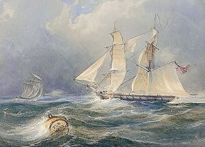 Thomas Charles Leeson Rowbotha.. - A frigate in a stiff breeze