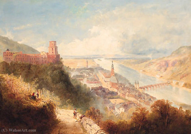 Castle and Town of Heidelberg, Germany by Thomas Charles Leeson Rowbotham (1782-1853, United Kingdom)
