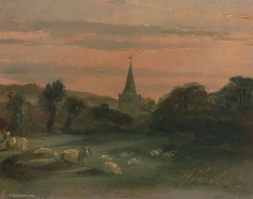 Stoke poges church (recto) by Thomas Churchyard (1737-1823, United Kingdom)