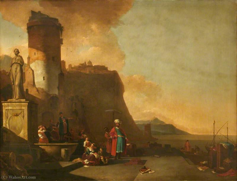 Capriccio of a Fort by the Sea, with Orientals and an Antique Statue by Thomas Wijck (1616-1677, Netherlands)