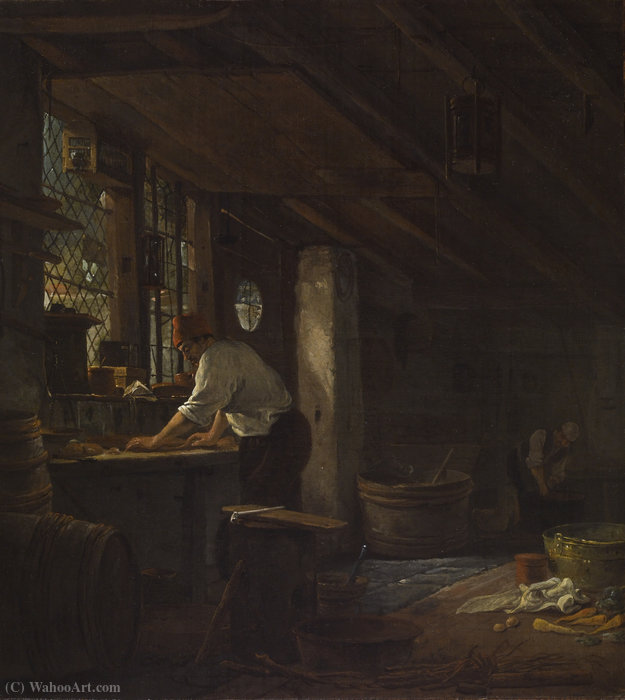 Kitchen interior by Thomas Wijck (1616-1677, Netherlands)