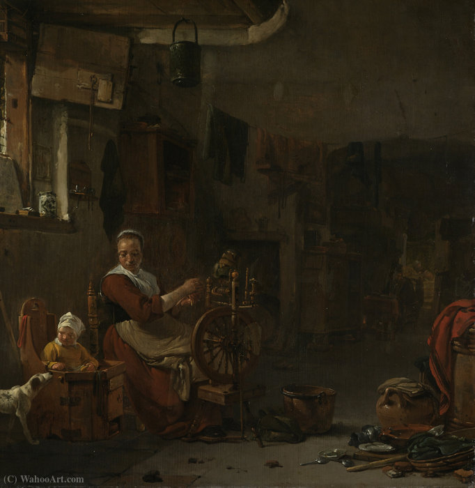Spinning farmer by Thomas Wijck (1616-1677, Netherlands)