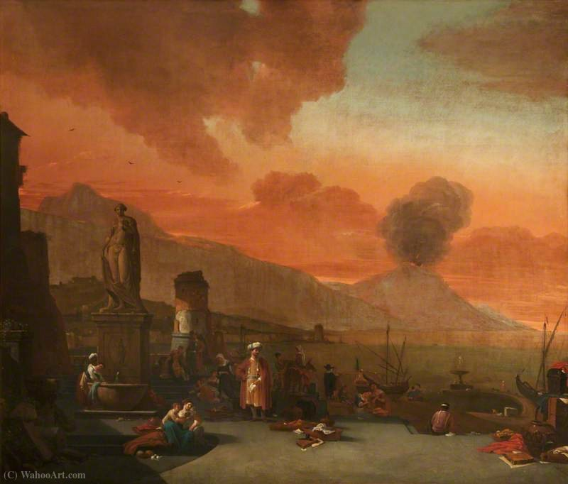 View of the Bay of Naples with Orientals and an Antique Statue by Thomas Wijck (1616-1677, Netherlands)