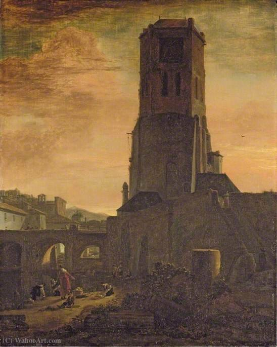 Washerwomen at the Foot of the Torre delle Milizie, Rome by Thomas Wijck (1616-1677, Netherlands)