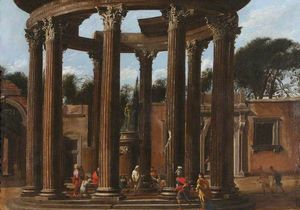 Viviano Codazzi - A Ruined Temple with a Sa..
